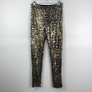 Forever 21 Black Gold Sequin Mesh Geometric Pants